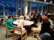 English majors attend a career night information session.