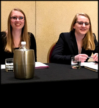 <em><strong>Bridget and Rachel waiting to present at the Modernist Coming of Age panel</strong></em>