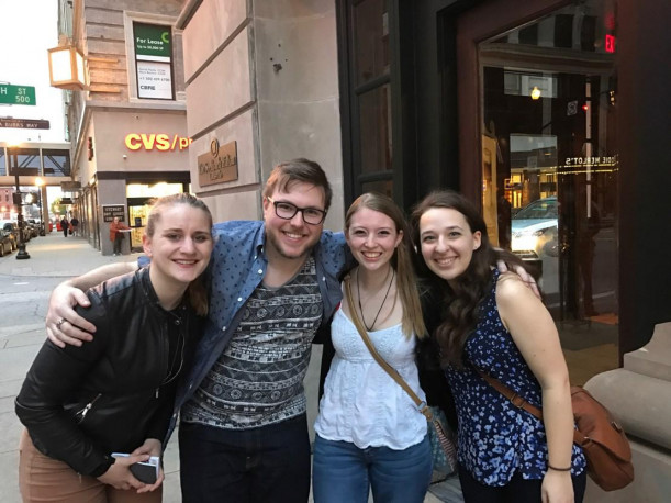 "<em><strong>Rachel, Jacques, Bridget, and Cat outside the Seelbach Hotel, where F. Scott Fitzgerald was inspired to write ""The Great Gatsby""</strong></em>"