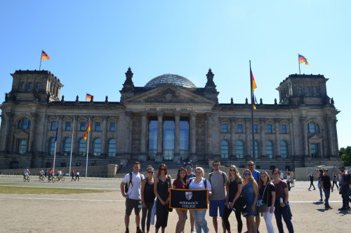 Merrimack students in front of the Reichstag in Berlin
