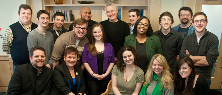 Playwright John Patrick Shanley with the cast and crew of Doubt.