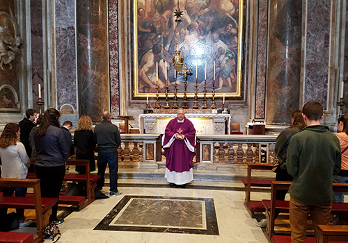 We began our day with the celebration of Mass at the altar of the tomb of Pope Saint John Paul II...