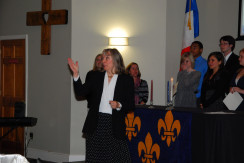 Dr. Pressman at the Pi Delta Phi chapter installation ceremony, Merrimack College, Fall 2012