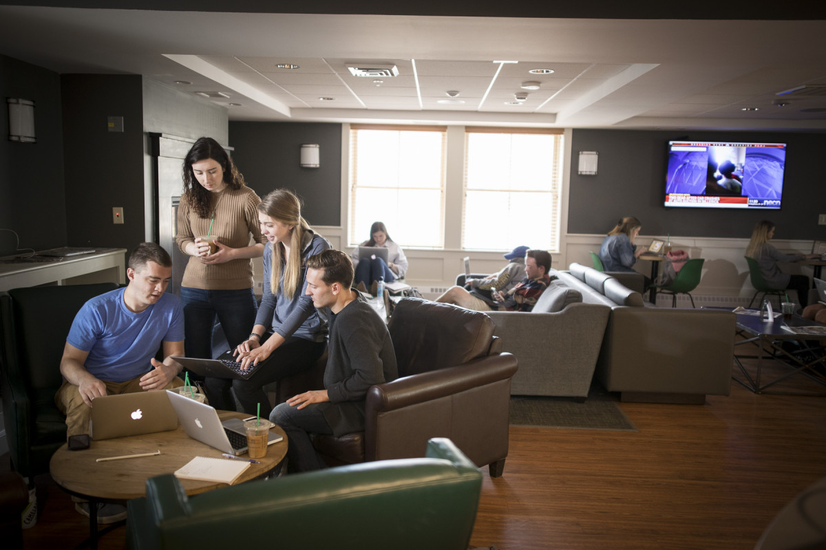 The Sanctuary coffeehouse in Building 6 is a popular gathering spot for students and employees.