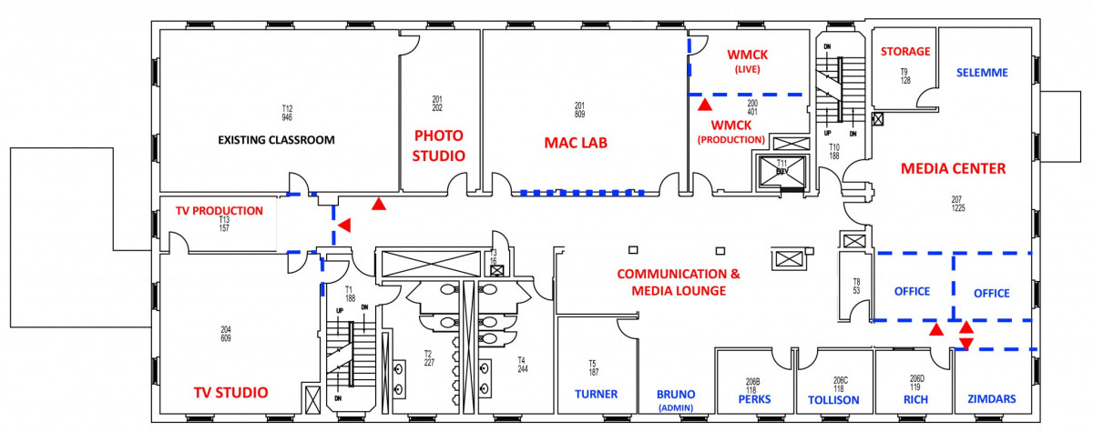 Floor plan for the second floor of Cushing Hall.