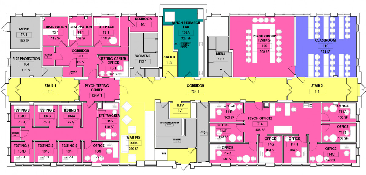 Floor plan for new psychology department on the first floor.