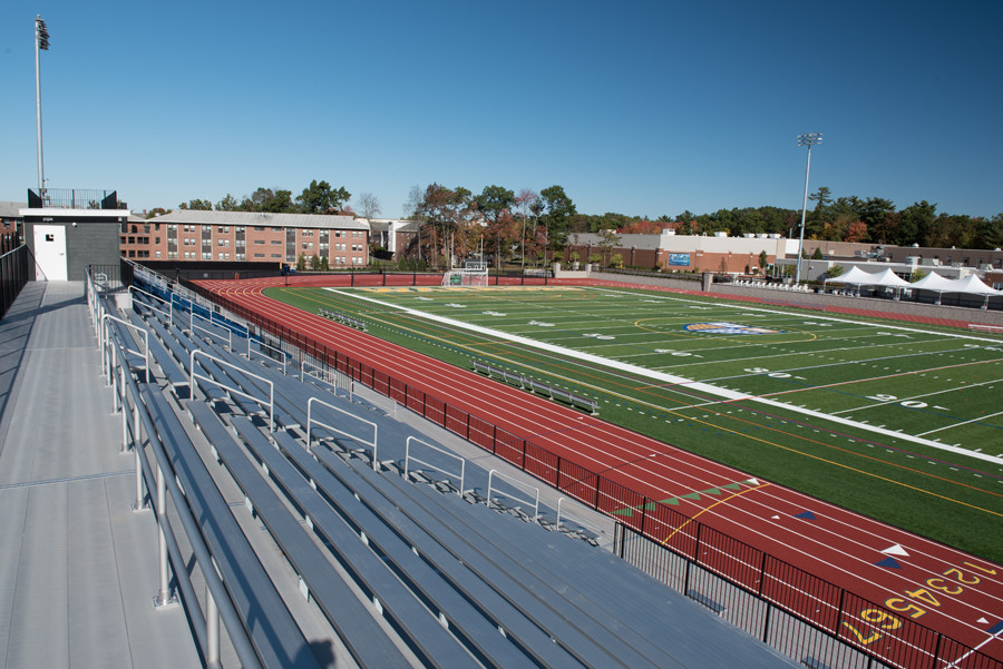 The stadium patio area and Merrimack Athletics Complex can be seen directly across the field.
