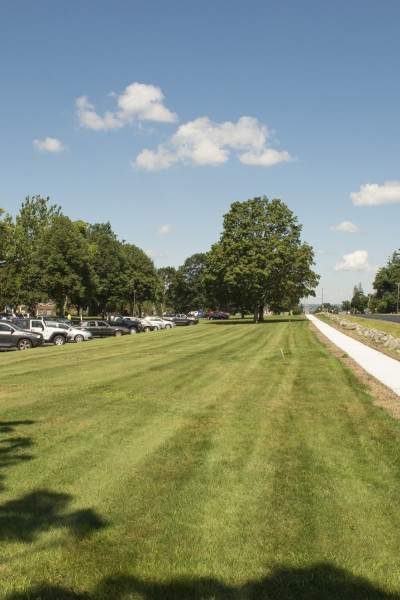 The new sidewalk along Elm Street makes getting around campus safer and easier.
