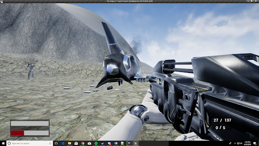 Screenshot from prototype of a first-person survival game.
