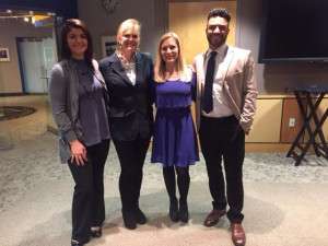 Dr. Ann McKee pictured with Graduate Health Sciences Student Marlo Dell'Aquila, Graduate Program Director Lindsey Mattos and Undergraduate Athletic Training Student Devin O'Reilly