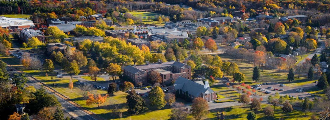 An aerial shot of Merrimack's campus.