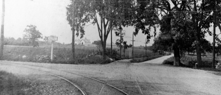 Wilson's Corner, future location of Merrimack College, looking toward Andover, now the intersection of routes 114 and 125, with Elm Street straight ahead, circa 1930.