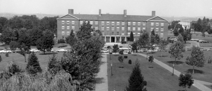 View of Austin Hall, mid-70s