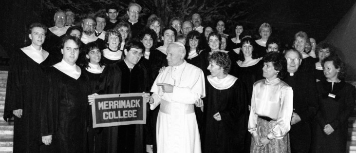 The Merrimack College Choir meets with Pope John Paul II after singing at Mass in St. Peter's Basilica, Palm Sunday, 1989.