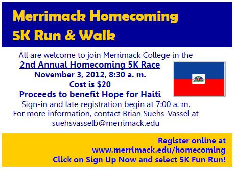 Informational flyer for the Hope for Haiti, Homecoming 5k Run/Walk