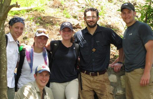 Seven people with a Merrimack Connection spent June 3 - 9 in Haiti with ProjectMedishare, sharing their talents with delivering clean water and with physical therapy.  The groups hope to return in January to continue their humanitarian work. (From left) Maggie Jacques (Civil Engineering major); Mollie Fitzgerald (Athletic Training major); Chelsea Jacoby (Athletic Training major); Brian Suehs-Vassel (Campus Minister Service Opportunities); Dan Borges (Civil Engineering major); and in front, Kevin Melanson (Clinical Instructor, Sports Medicine).  Not shown is Marc Veletzos (Assistant Professor of Civil Engineering) who shot the photo.