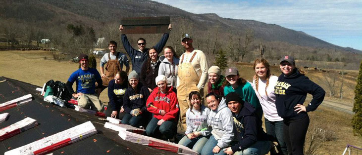 Students on their Alternative Spring Break trip to Durbin, West Virginia build homes with Almost Heaven Habitat for Humanity.