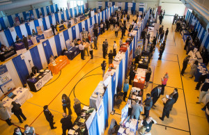 Students and employers interact during a career fair