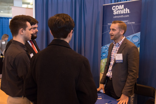 Alum from CDM Smith discusses career opportunities with students attending the Merrimack College ...