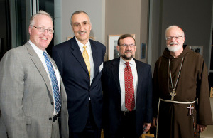 President Hopey, Dr. Mohamed Lazzouni, Rabbi Burton Visotzky and Cardinal Sean O'Malley