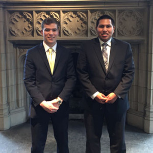 Patrick Gillespie '16, and Luis Guerrero '17, recently went to the American Moot Court Collegiate Association National Invitational in Chicago where they made it to the Sweet 16 before bowing out in a close match with a team from Saginaw Valley State University in Michigan.