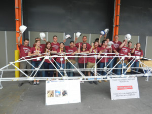 Merrimack's team at the National Student Steel Bridge Competition at the University of Missouri-Kansas City.