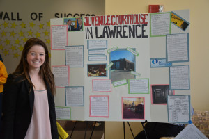 Meghan Reynolds '16, of Holden, Mass.,took part in the Criminology Department's poster board presentation at the end of the school year to show what students worked on during their internships. Reynolds interned at the probation office in Essex County Juvenile Court – Lawrence.