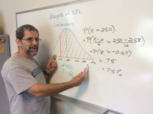 In a search to make his class on statistics current and interesting to his students, math professor Mike Bradley developed the course Basic Statistics with Fantasy Football. Students apply their lessons in class to a fantasy football league pitting classmates against each other and against Bradley.