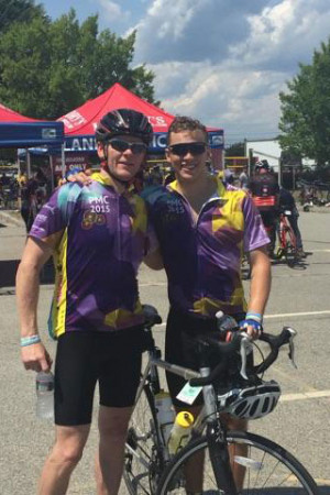Merrimack alum Mike Maher '88 has helped his team raise over $500,000 for the Pan Mass Challenge since 2004, including the $140,000 he's raised himself. Maher has ridden the Pan Mass since 2007 in memory of his wife Jen who died of nasal pharyngeal cancer in March 2007 and for the last two years was joined by his son Connor Maher, 20, on the road.