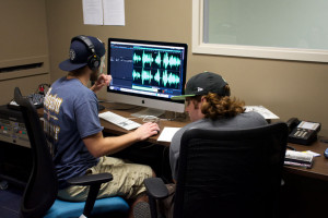 Adam Kalogeros '18 (left) and Tyler Shaffer '16 were in the Cushing Hall studio for the new WMCK this week doing some prod...