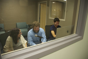 Radio Club co-presidents Lindsy Goldberg '15 (left) and Mike Giammasi '18 are making final preparations with faculty advisor associate professor Jake Turner, of the Communications Arts & Sciences Department, to go on-air with the new Internet-based WMCK radio station Oct. 5 at 9:30 a.m.