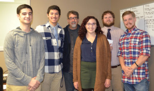 From left, Matt Galvao '17, sports program director; Mike Giammasi '18, Radio Club co-president; Kevin Salemme, director of the Media Center; Lindsy Goldberg '15, Radio Club co-president; associate professor of Communications Arts and Sciences Jake Turner, faculty advisor; and Devon Rauth '16, business director.