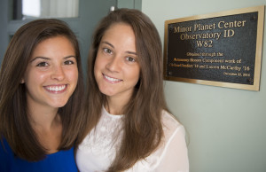 Lauren McCarthy '15 and Chelsea Comfort '14 were successful in getting recognition for Merrimack's observatory
