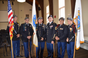 Members of the Lawrence Junior ROTC color guard performed the flag ceremony at the Veterans' Day ceremony. They are from l...