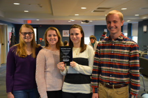 Award winners are (from left to right) Jessica Bruso '17, Alison Tobin '18, Megan Carignan '17, and Brian Mills '18.