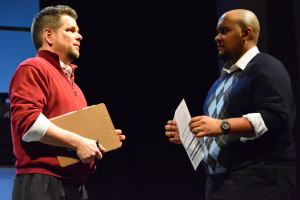 "Father Rick Piatt, O.S.A. at left with Michael Semonelli in ""Next to Normal."""
