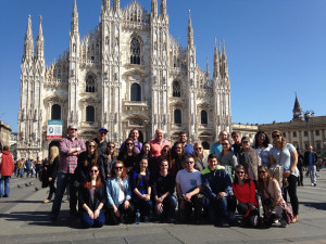 Merrimack College student, faculty and staff visited the Milan Cathedral March 19 during the 17th annual Pellegrinaggio tracing the footsteps of St. Augustine through Italy.