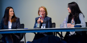 Methuen School Committee member Jana DiNatale and U.S. Rep. Niki Tsongas, D-Lowell with Professor Debra Michals who moderated the one-hour event.