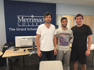 Alex Gorgoni '17, Mattia Lanzi '18, and Julio Leon '16, (left to right) were the top three finishers in the finance division of the inaugural Merrimack Madness stock exchange competition during the spring semester. The competition was sponsored by the Mucci Capital Markets Lab with a $10,000 donation from Paul and Joyce Mucci.