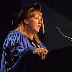 Mary Jennings Hegar addresses master's graduates.