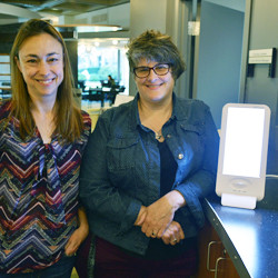 Hamel Health director Katell Guellec, left, and library director Kathryn Geoffrion-Scanell teamed to start the light-box therapy initiative at Merrimack.