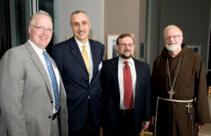 (from left) President Christopher E. Hopey, Dr. Mohamed Lazzouni, Award winner Rabbi Burton Visotsky, and Sean Cardinal O'...
