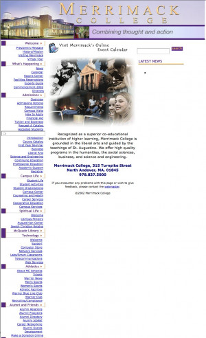 The Merrimack homepage, 2002.