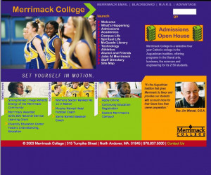 A glimpse of Merrimack's homepages over the years.