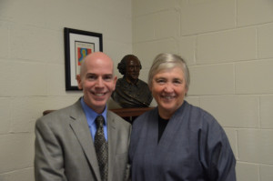 Bud Jennings and Dr. Maureen O'Rourke Murphy spoke at the rededication of the Catherine A. Murphy Faculty Conference Room.