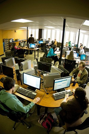 The newly renovated second floor computer lab offers state-of-the-art technology and printing resources.