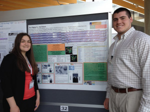 Merrimack students Allison Langone and Anthony Preston present their research on the Hopey bacteriophage at national conference.