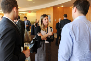 Amanda Simeone '08 networks with fellow young alumni.