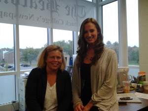Merrimack Beacon advisor Gretchen Putnam Grosky, left, with student editor Karamarie Joyce.