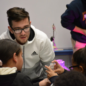 Merrimack undergraduates visited the Alex B. Bruce School in Lawrence to demonstrate science expe...